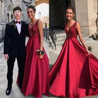 Wholesale natural red coral beads sale for sale - Group buy Fashion A line V neck Sweep Evening Dress With Beads Sleeveless High End Quality Dress Custom Made Hot Sales Evening Gowns