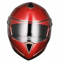 kırmızı yarış kaskı toptan satış-Motosiklet Kaskı Çift Visor Bisiklet Motokros Yarışı Kırmızı M kadar DOT Tam Yüz çevir