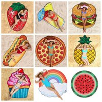 Wholesale beach foods for sale - Group buy Popular Beach Towel Foldable Lawn Picnic Mat Outdoors Portable Irregular Towels Food Fruits Shape Hot Sale DHC48