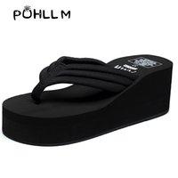 chanclas de correa de tela al por mayor-las mujeres PUHLLM deslizador de bricolaje de verano de gran tamaño zapatos de playa con suela gruesa flip-flop de la versión coreana de moda antideslizantes correas de tela T191018
