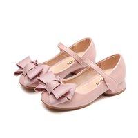 ingrosso tacchi alti per bambini-Autunno principessa neonate scarpe col tacco alto per la festa Scarpe carino per bambini Bowknot PU Leather Shoes per bambini