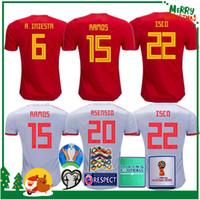 venda uniforme de camisas venda por atacado-2018 Espanha Jersey em casa Fora de Futebol Jersey Espanha camisa de futebol em casa 2019 mulheres ASENSIO MORATA ISCO A.INIESTA Uniformes de futebol vendas