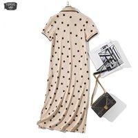 camisas de vestir de polo casual al por mayor-Suelta polo de las mujeres del vestido de punto de impresión del tamaño del verano de algodón Maxi vestidos de manga corta del bolsillo de albaricoque vestido largo