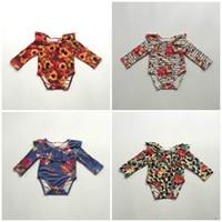 bebek leopar romper tutu toptan satış-Sonbahar / kış atlama takım elbise kabak leopar ayçiçeği çiçek bebek kız butik giyim bebek pamuk tutu romper Toddler süt ipek