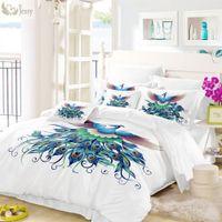 decoraciones de pavo real blanco al por mayor-Juego de funda nórdica de plumas blancas Twin Full Queen King Decoración del dormitorio Alteza Juego de ropa de cama de pavo real azul Ropa de cama Fundas de almohada