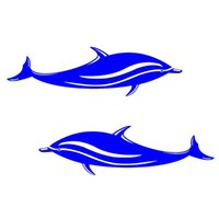 adesivo de parede do banheiro golfinho venda por atacado-2 Peças 18 * 5 cm À Prova D 'Água Golfinhos Adesivos Decalques de Vinil para Caiaque, Barco, Carro, Banheiro, Janela, Parede ou Home Decor Estilo Marinho
