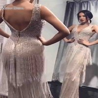 Wholesale fashion simple light luxury resale online - 2019 Luxury Sheath Sequins Tassel Evening Dresses V Neck Sleeveless Backless Prom Dresses Party Gowns Custom Made