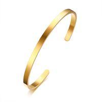 silbernes dünnes stulpearmband großhandel-4mm Dünne Charme Manschette Armreifen Edelstahl Bracciali Elegantes Gold Schwarz Silber Rose Gold Frauen Armbänder Pulseira Feminina