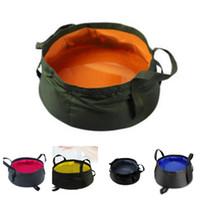 bacia de água ao ar livre venda por atacado-Novo 10 cores balde de pesca balde ao ar livre balde bacia de lavagem saco de água pote para camping bacia de banho banho Supplie T2I5116