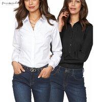 chemise rosa preto venda por atacado-Nova shirt de manga comprida Ol Sólido Preto Rosa Branco Womens Tops Blusas Chemise Femme 2019 Trabalho de escritório Slim Fit Shirt