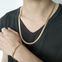 armband machen set großhandel-Männer Metall 3 Farben Armband Halskette Set vergoldet Aus Edelstahl Neue Stil Mann Modeschmuck Armband 40g