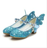 Wholesale sequin dance shoes heels for sale - Group buy New Girls Princess Shoes Children High Heels Bow Sandals Glitter Model Dance Dress Weddings Kids Fashion Sequins Leather Party T200411