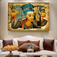 Wholesale ancient paintings art for sale - Group buy Ancient Egypt Protrait of Mysterious Cleopatra Home Wall Art Decor Handpainted HD Print Oil Painting Wall Art Canvas Pictures
