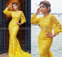 robes de soirée en or jaune achat en gros de-2019 Or Jaune Dentelle À Manches Longues Dubaï Robe De Soirée Sirène 3D Flora Arabe Robes De Bal De Célébrité Plus La Taille Long Robes Formelles