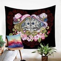 arte da parede dos pares venda por atacado-Casais crânio Tapestry Wall Hanging Gothic decorativa Wall Art Flores rosa Corações vermelhos Colchas Folha 130x150cm