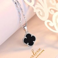 999 silberne kette großhandel-999 Pure Silver Lucky Clover Halskette Weibliche Schlüsselbein Kette Korean Fashion 18 Karat Rose Gold Ornamente Factory Outlet