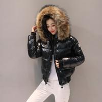 roupas para grossas mulheres negras venda por atacado-2019 Nova Inverno Jacket Jacket algodão das mulheres Brasão Mulheres Parkas Grosso Feminino Casacos Red Preto Vestuário 186 algodão acolchoado Magro