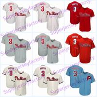 blaue baseballstiche großhandel-3 Bryce Harper Trikot 2019 New Phillies Herren Damen Jugend Baseball Trikots Genäht Weiß Rot Grau Creme Blau