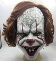 varas de madeira venda por atacado-Máscara de Palhaço de Halloween Máscara de Palhaço Assustador Rei Do Stephen Máscara É Pennywise Traje Cosplay terror peruca máscaras headwear prop