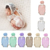 Wholesale photo prop baby boy clothing resale online - Newborn Photo Props Baby Boy Girl Summer Clothes Baby Lace Hat Hollow V Backless Rompers Infant Photography Accessories
