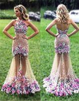 vestidos de flor de coral venda por atacado-Sexy Halter 3D Flores Sem Encosto Vestido Longo Colorido Prom Vestidos de Festa Vestidos Formais Vestidos de fiesta Abendkleider
