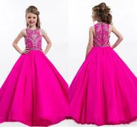 uzun sürpriz çiçek kız elbisesi toptan satış-Fuşya Sevimli kız Pagenat Elbise Kristaller Boncuklu Üst Kolsuz Prenses Uzun Çocuklar Örgün Parti Gowns Çiçek Kız Elbise BC1087