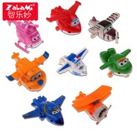 Wholesale model airplanes for kids resale online - 8pcs Set Mini Airplane Anime Super Wings Model Toy Transformation Robot Action Figures Superwings Toys For Children Kids
