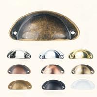 gabinete vintage tira perillas al por mayor-Vintage perillas y manijas del gabinete puerta del armario gabinete cajón muebles Antique Shell Home Handles Pulls WX9-1276