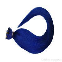 16 zoll band haarverlängerungen großhandel-200 gramm = 80 stücke 16 18 20 22 24 zoll Kleber Haut Einschlagfaden Blau Farbe PU Band in Menschenhaarverlängerungen kostenloser versand
