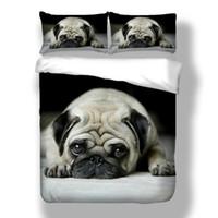 camas para perros con estampado animal al por mayor-3 unids / set 3D Animal lindo perro Pug Imprimir ropa de cama delicado suave juego de cama