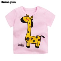 Wholesale baby white tshirt resale online - New Fashion Kids T shirt Cotton Deer Print Short Sleeves Boys Girls Baby T shirt kids t shirt baby tshirt summer top