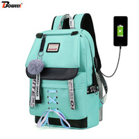 Wholesale backpacks for girls college resale online - Canvas Large Capacity Usb School Bags for Girls Teenagers Backpack Women Bookbags Green Middle High College Teen Schoolbag Girl Y200107