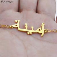 pulseiras árabes venda por atacado-V atrair Jóias Presente personalizado de escrita assinatura personalizada Árabe Nome Pulseira Mulheres Rose Gold Silver Bileklik islâmica