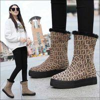 rahat mid buzağı botları toptan satış-Yeni 2019 Kadın Çizme Bayan Kış Boots Orta Buzağı Sıcak Kar Bayan Ayakkabıları Kadın Kürk Botaş Mujer Casual patik Isınma
