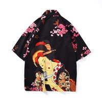 женские сапоги оптовых-2019 Fashion Men's Kimono Shirt Cardigan Women Trench Coat Japanese Style Flowers Loose Fit Polyester Man Tops Summer Clothing