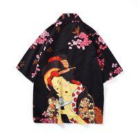 trincheira japonesa venda por atacado-2019 Moda Quimono Camisa Das Mulheres Cardigan Mulheres Trench Coat Estilo Japonês Flores Soltas Fit Poliéster Homem Tops Roupas de Verão