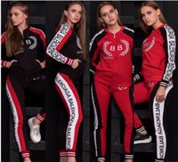 outfits baseballjacken großhandel-Fashion Letter Frauen Trainingsanzug 2 Stück Outfits Sweatshirt Leggings Tees Hoodies Jacken + Hosen Sportswear Hosen Pullover Sweatsuit