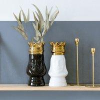 ingrosso vasi di fiori d'oro-Vaso da tavolo King e Queen Gold Golden Crown Light Luxury Decorativo Flower Pot Flower Arrangement Bottle Art Craft in ceramica