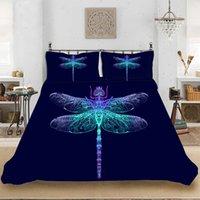 ingrosso copripiumini leggeri-Animal Pattern Colorful Light Dragonfly Set biancheria da letto Biancheria da letto Include copripiumino Federa stampa biancheria da letto tessili per la casa