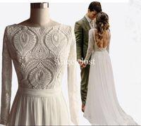 vestidos de novia diseños únicos al por mayor-2019 Diseño único de encaje Vestidos de boda bohemios Mangas largas Abrir detrás Una línea Gasa Verano Boho Chic Rústico Imágenes reales Vestidos de novia