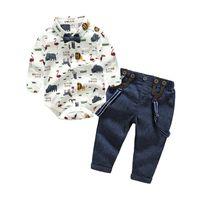 cavalheiro de roupa de rapazes venda por atacado-Conjunto de Roupas de bebê Menino Bebê Recém-nascido Cavalheiro Roupas Infantis Camisa de Manga Longa + Macacão 2 PCS Bebes Outfits Set