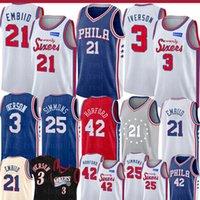 camisetas de allen iverson al por mayor-Joel NCAA 21 embiid Universidad de New Ben 25 Simmons Al Horford 42 jerseys del baloncesto para hombre Nuevo Retro Allen Iverson Jersey 3