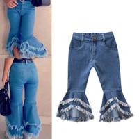 moda tayt kot toptan satış-Perakende Ins Bebek Kız parlama pantolon Denim püsküller Kot Tayt Tayt Çocuklar Giysi Tasarımcısı Pantolon Moda Çocuk Giysileri