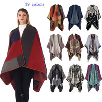 Wholesale vintage cloaks resale online - Plaid Poncho Vintage Travel Wrap Knit Cashmere Cape Scarf Winter Hot Shawl Cardigan Blankets Cloak Coat Sweater MMA2428