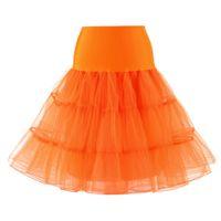 falda enagua naranja al por mayor-Rosa Tutu Blanco Negro Ballet Rojo Amarillo Naranja Rosa Púrpura Azul marino Azul cielo Azul Verde Faldas de encaje de tul Falda larga de bola de enagua