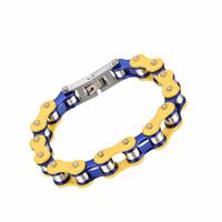 pulseras conmemorativas al por mayor-Pulsera de Oro Acero Cadena IJL0172 inoxidable de alta calidad resistente del recuerdo de la joyería de la pulsera de recuerdo multicolor Memorial individuo masculino