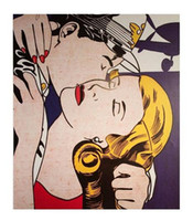 Wholesale 16x20 canvas frame resale online - Roy Lichtenstein THE KISS High Quality Handcrafts HD Print portrait Art Oil painting On canvas Multi sizes Frame FMRy37