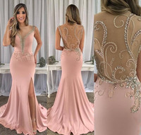 Wholesale silk daffodils yellow resale online - 2019 Sexy Dark Pink Split Side Evening Dresses Beaded Long Holiday Wear Pageant Prom Party Gown Custom Made Plus Size