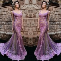 Wholesale evening gowns online - Light Purple Lace Evening Dresses Mermaid Sexy See Through Bodice Appliques Sequins Tulle Floor Length Prom Gowns Sexy V neck Vestidos
