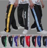 полные спортивные игры оптовых-Полностью открытые пуговицы брюки баскетбол тренировочные брюки баскетбол шоу брюки мужские спортивные штаны разминка перед игрой